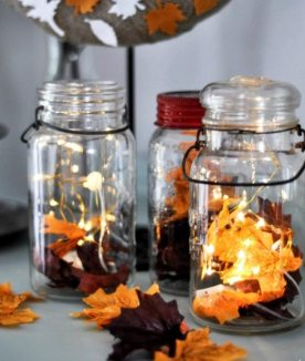 bricolage-decoration-automne-photophores-automne-diy-feuilles-orange-piles